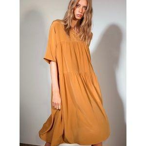 LE FOU WILFRED | Juliette 100% Silk Mustard Dress